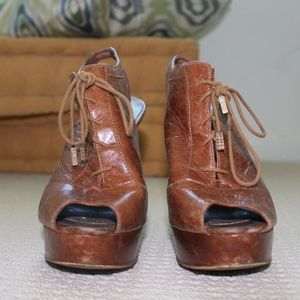 Brown Leather Lace-up BCBG Heels